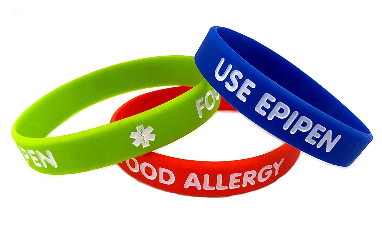 Kids Silicone Medical ID Bracelets - 3 Pack - Food Allergy