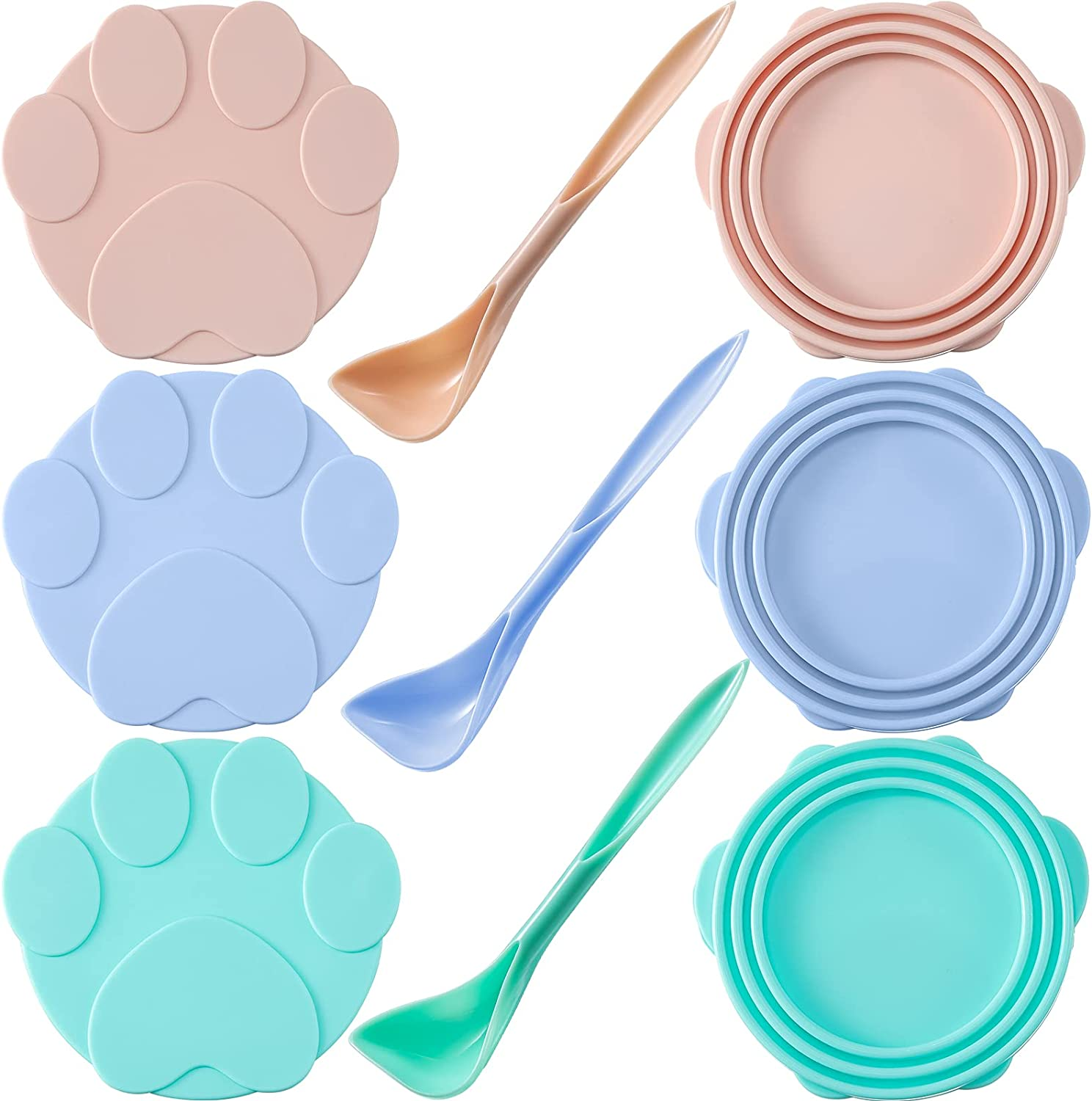 3 Pieces Cute Pet Food Can Lids with 3 Spoons, Silicone Can Lid Covers for Dog and Cat Food, Universal Silicone Cat Food Can Lids 1 Fit 3 Standard Size (Pink, Blue, Green)