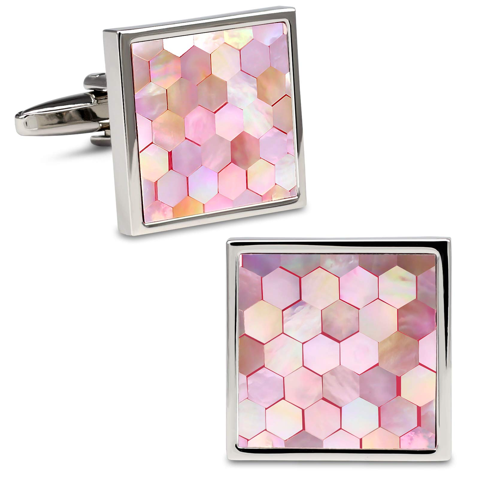 VIILOCK Mother of Pearl Mix Colorful Cufflinks Set with Gift Bag (Pink)