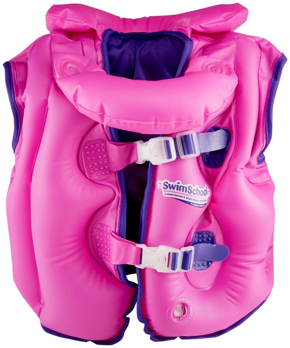 Aqua LeisureファブリックLined Inflatable Swimベスト、取り外し可能な襟、adj.バックル、ピンク   B01ER754ES