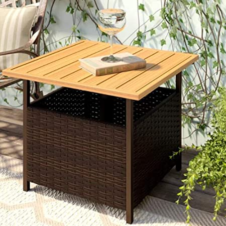 SunLife Patio Square Side Table with Umbrella 1.5 Hole Umbrella Base Stand, Outdoor Furniture Bistro Table PE Resin Wicker