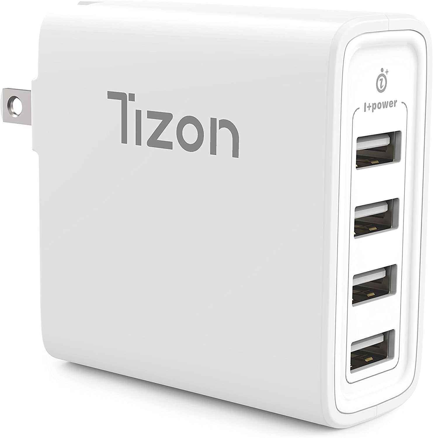 20W 4-Port USB Travel Wall Charger w/I+Power Smart chip& Foldable Plug, Tizon Voyage LITE for iPhone, Samsung, Google Tablets& More
