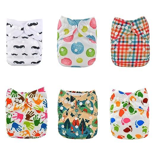 35 opinioni per Alvababy 6pcs pannolino di stoffa con 2 inserti con una tasca (colore