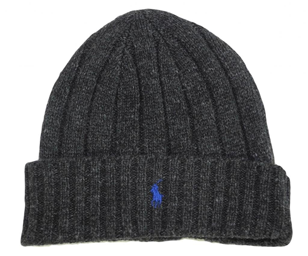 Polo Ralph Lauren Lambs Wool Beanie Hat Cap-Dark Gray Blue at Amazon Men s  Clothing store  ae72c65b5c5