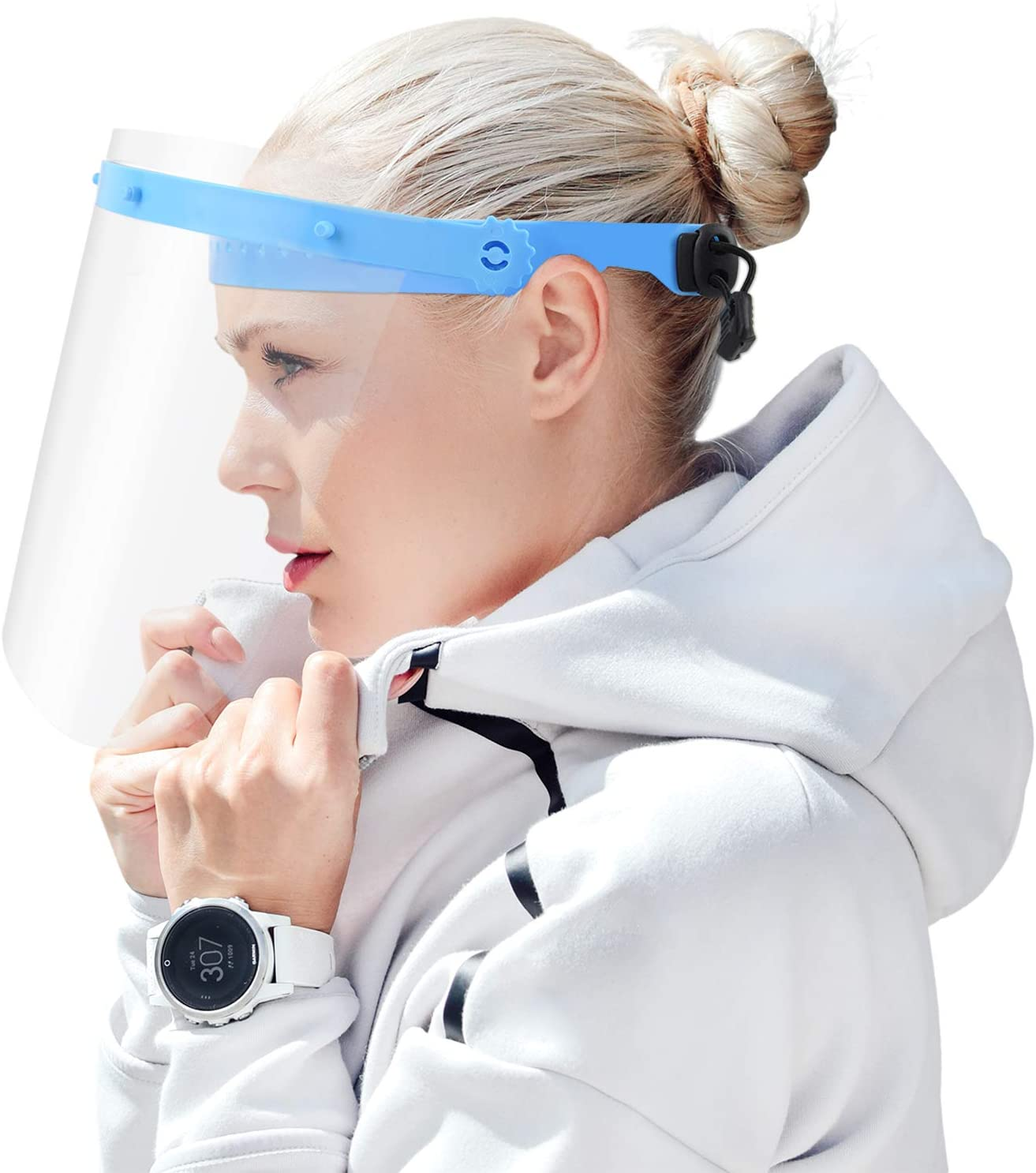 JHGG Reutilizable M/às/κ Clear Face/_Shield Plastic Mouth Nose Shield Clear Guard /ρRotection Adecuado para Mujeres Hombres 2 Piezas