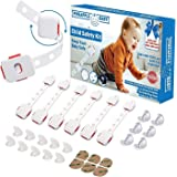 Baby Proofing Baby Registry Kit - 6pcs Dual Action Multi-Use Latches - 6pcs Corner Protectors - 1pcs Plug Covers - 6pcs Extra 3M Adhesive - Child Proofing Kit - Safety Locks - Amazing Baby Gift -