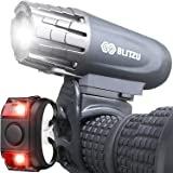 BLITZU Bike Lights Set USB Rechargeable Gator 320 Lumens Powerful Front and Back Light Bicycle Accessories for Night Riding,