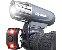 BLITZU Bike Lights Front and Back, Bicycle Accessories for Night Riding, Cycling. Reflectors Powerful Rechargeable Headlight