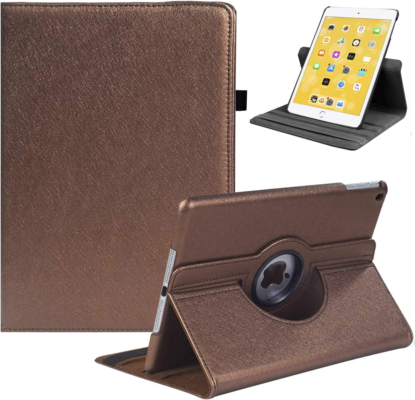 """LRCXL New iPad 8th Generation Case 2020, iPad 7th Generation Case 2019 - 360 Degree Rotating Stand Protective Cover with Auto Sleep Wake for Apple iPad 10.2""""(Brown)"""