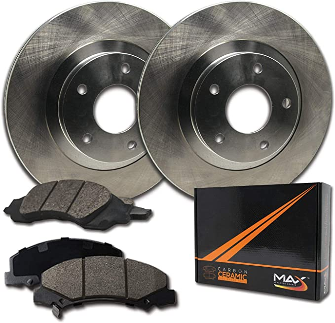 Max Brakes Front E-Coated Slotted Drilled Rotors w//Ceramic Pads Elite Brake Kit KT180781 Fits 2009-2014 Nissan Maxima