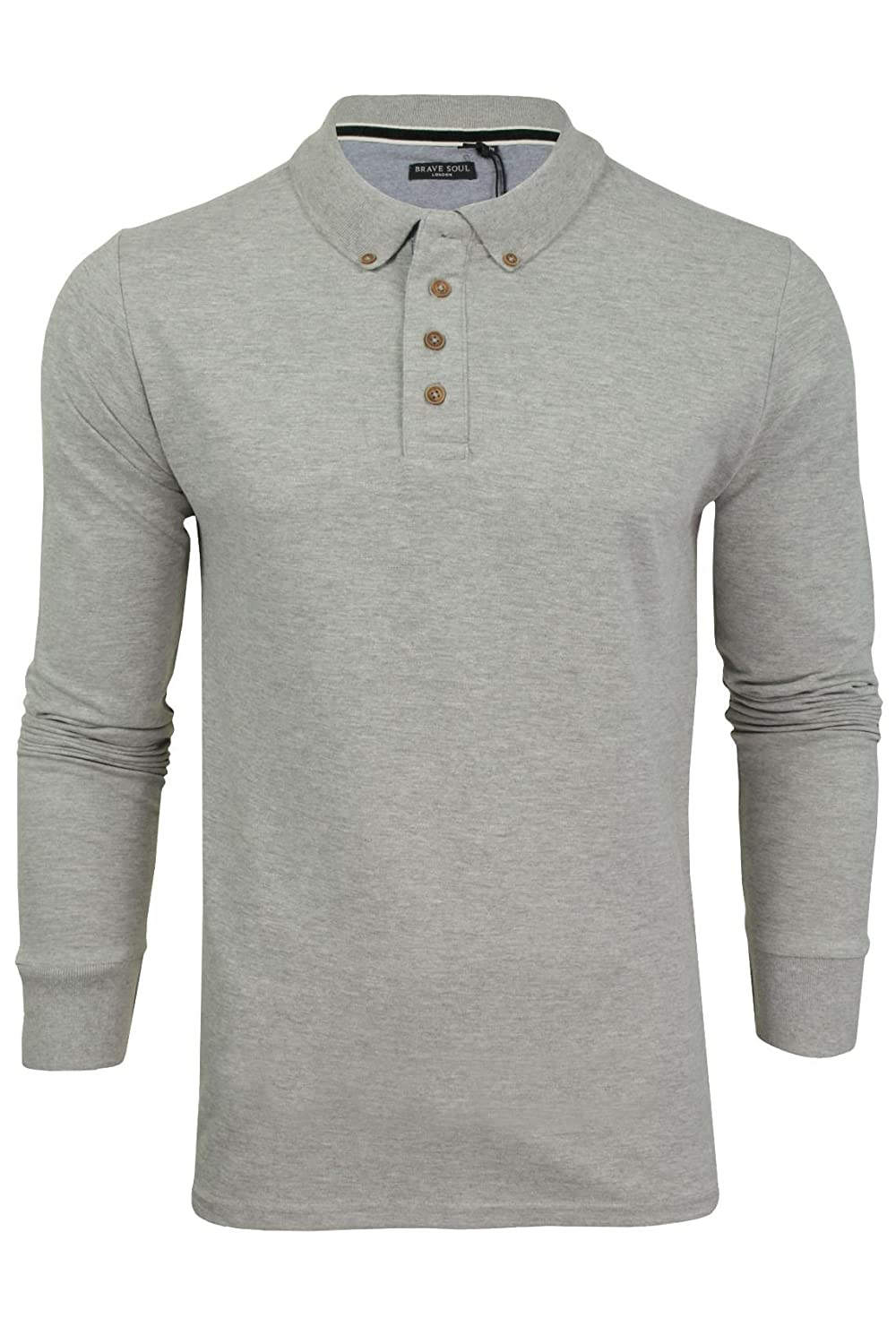 Mens Brave Soul Herae Collared Polo Long Sleeved Top Whispering Smith MLT-69 Kennedy