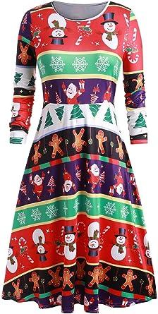 Christmas Print Dresses 2020 Bigfanshu Women's Dresses 2020 Christmas Print Dress Round Neck