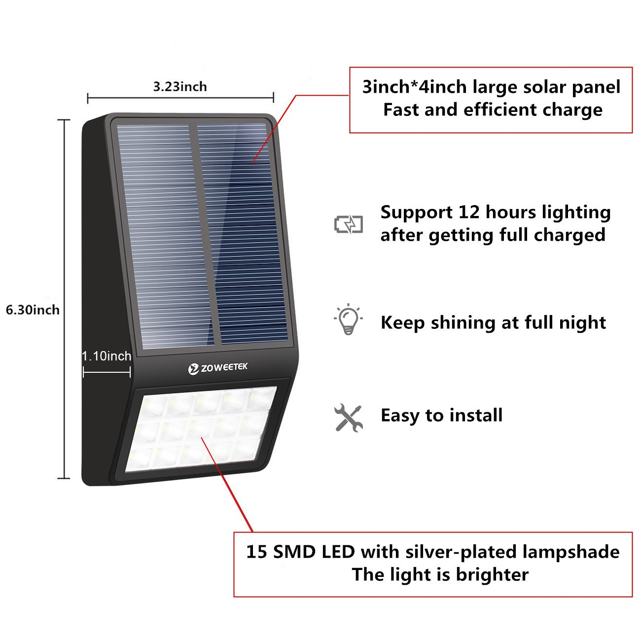 Zoweetek Outdoor Waterproof Solar Wall Light with Motion Sensor and Photosensitive Sensor for Garden, Fence, Patio, Driveway, Step, Yard, Deck, Path
