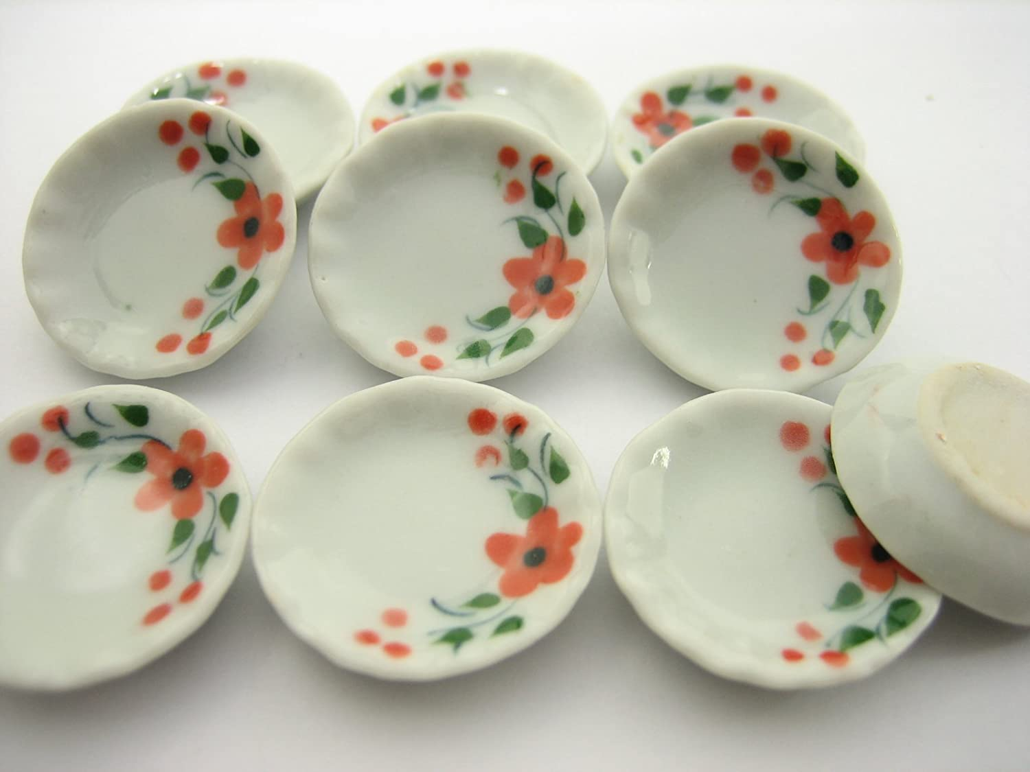 10x25 mm Blue Spotted Bowl Dollhouse Miniatures Ceramic Food Supply Deco