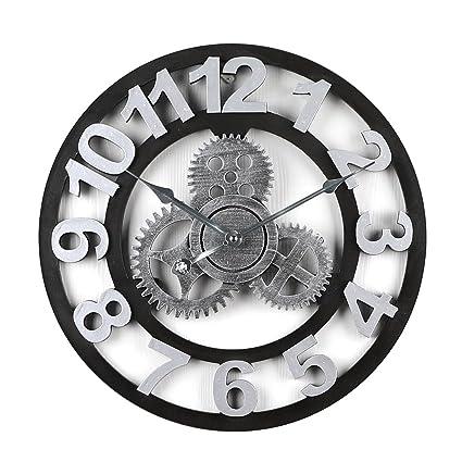 Winnian Relojes de Pared Vintage con Engranaje - 40cm - Reloj de Pared Numeros Romanos (