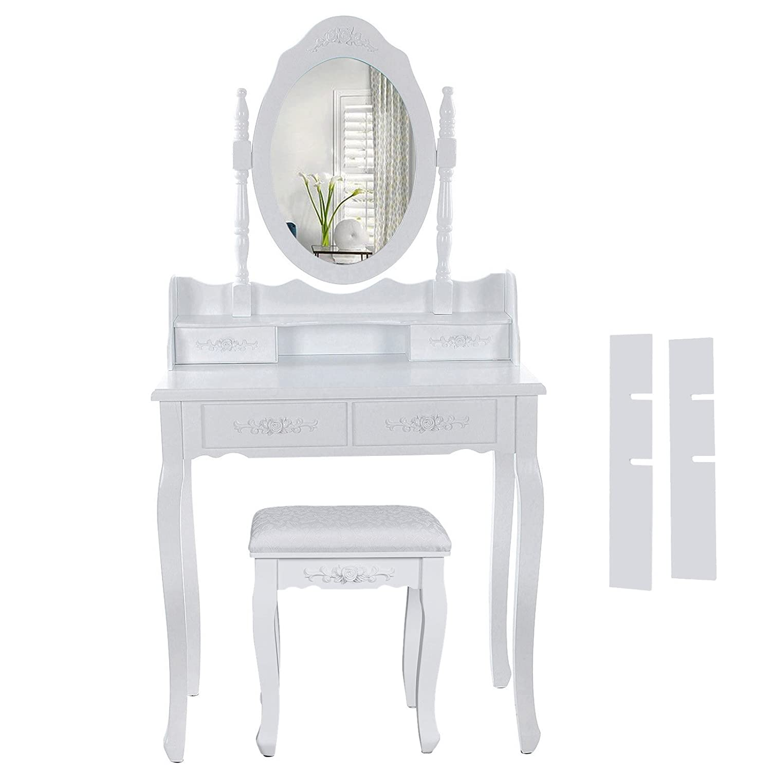 amazing songmics blanc coiffeuse table de maquillage avec. Black Bedroom Furniture Sets. Home Design Ideas