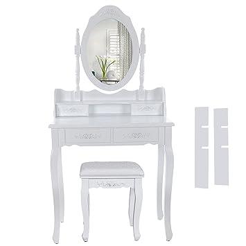 Trendy songmics blanc coiffeuse table de maquillage avec for Coiffeuse blanche maison du monde