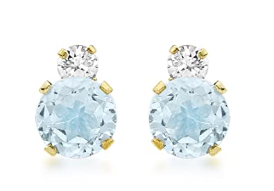 Carissima Gold 9 ct Yellow Gold Round Cubic Zirconia Stud Earrings, 6 mm