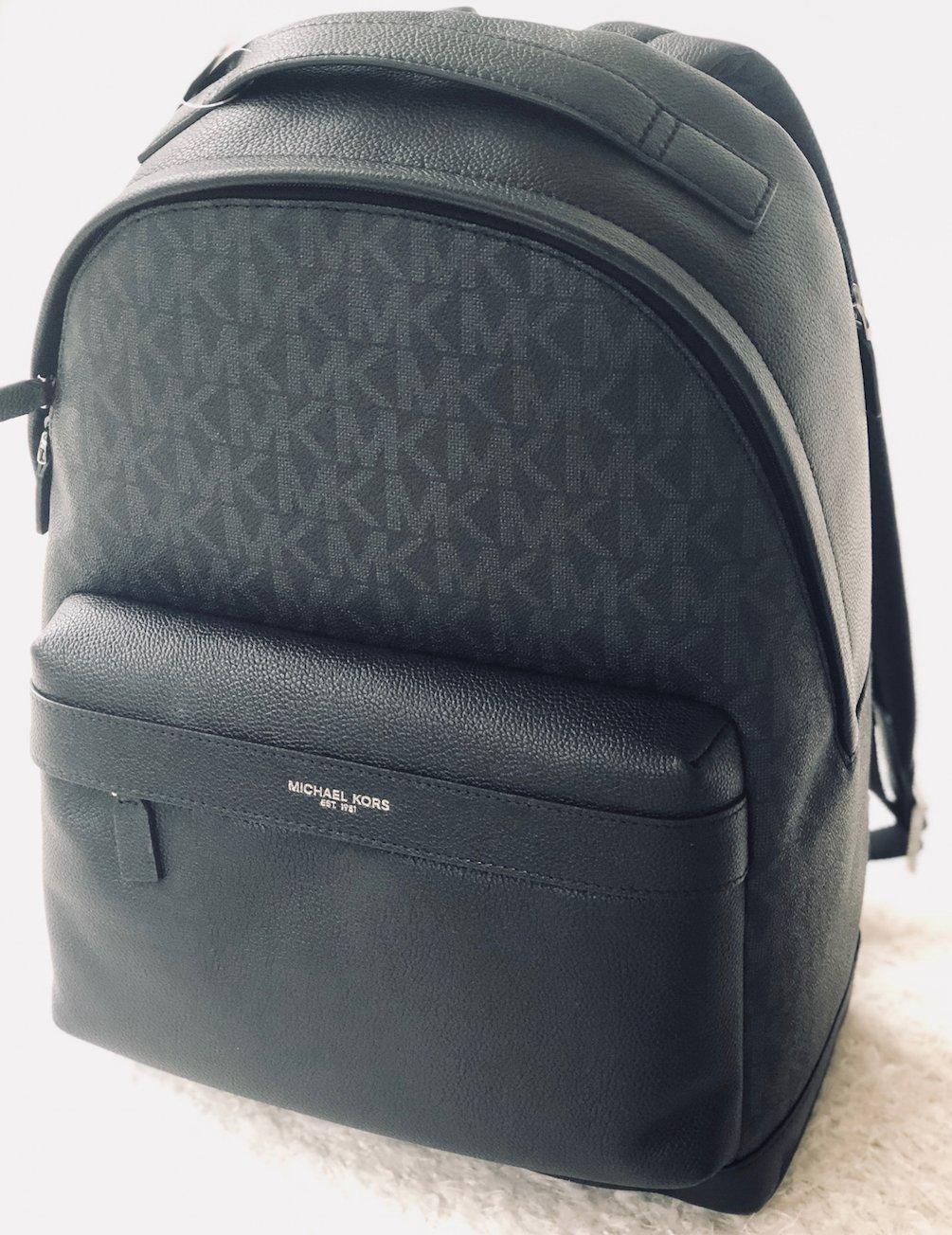 6d40a3306a85 Amazon.com: Michael Kors Mens Russel Black Signature Leather Backpack Bag:  DezignerChic