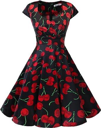 TALLA XXL. Bbonlinedress Vestido Corto Mujer Retro Años 50 Vintage Escote En Pico Black Red Cherry XXL