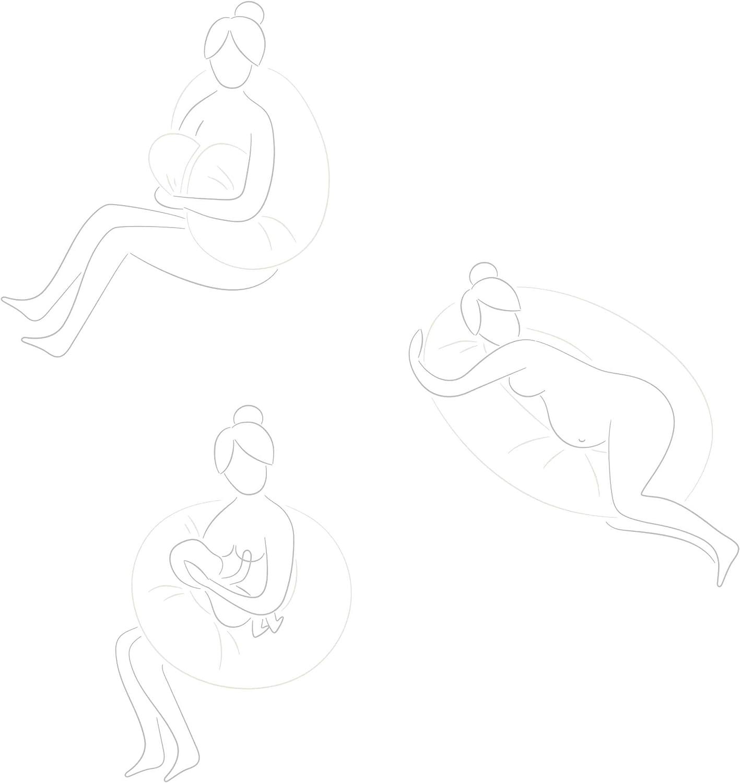 punteado gris//blanco Lumaland almohada de lactancia almohada para el embarazo almohada para dormir lateral con funda de algod/ón 100/% 190 x 150 x 37 x 20 cm