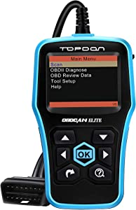 Code Reader ABS SRS OBD2 Scanner TOPDON Elite Diagnostic Scan Tool Full OBDII Functions in Graphical Display DTC Lookup Turn off MIL Prints Data Free Update