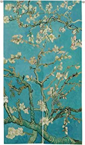 Ofat Home Japanese Doorway Curtain, Artistic The Materpiece Apricot Blossom Door Curtain for Home Decor 33.5