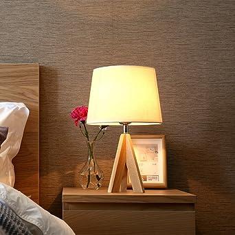 Holz Stativ Tischlampe Tischleuchte Nachttischlampe Runden Stoff