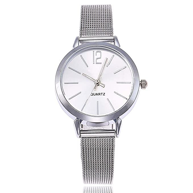 Amazon.com : Gold Sliver Mesh Stainless Steel Watches Simple Female Slim Quartz Wrist Watch Casual Women Watch Reloj Mujer Ladies Watch(Gold, ...