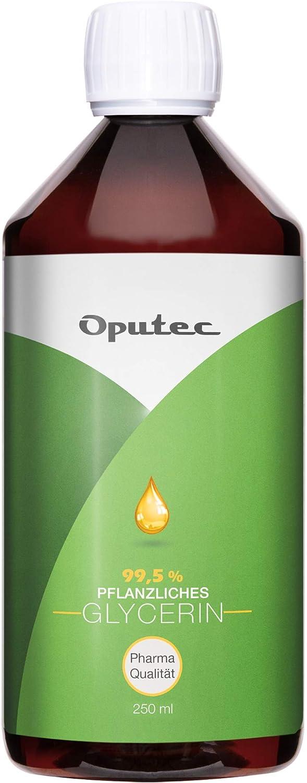 Oputec 250 ml de glicerina vegetal en calidad farmacéutica – 0,25 litros de glicerina líquida en Ph. Eur. Calidad: para cremas, jabón, extractos, cachimba, calidad alimentaria sin perfume.