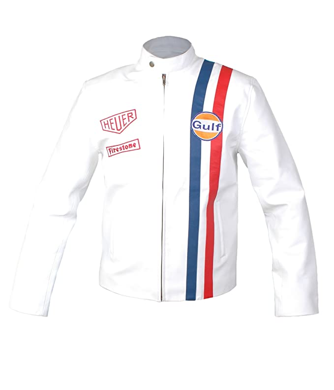 Amazon.com: Mens Leather Jacket - Le Mans Steve McQueen Gulf Jacket White: Clothing