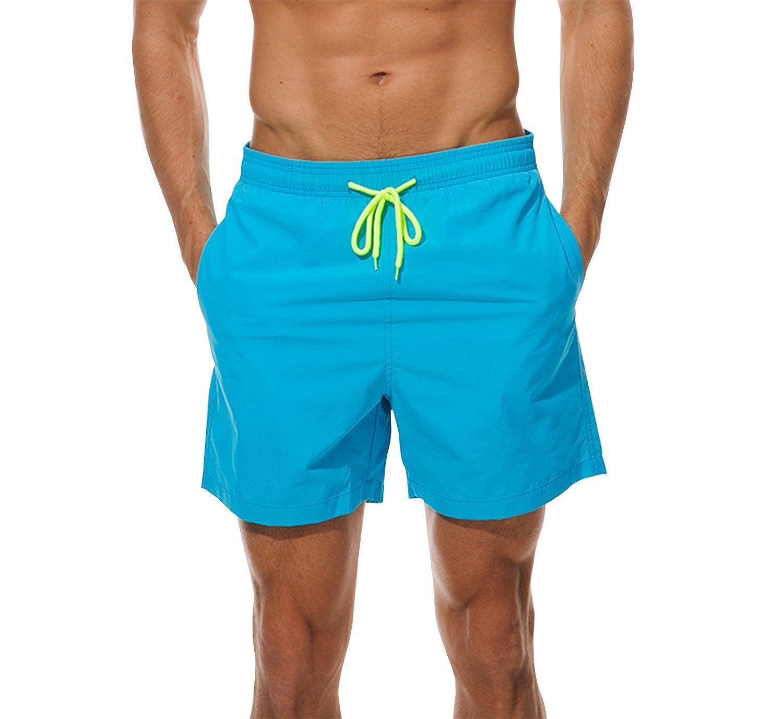 Ehpow Men's Beach Shorts Quick Dry Waterproof Sports Shorts Bathing Suit Swim Trunks