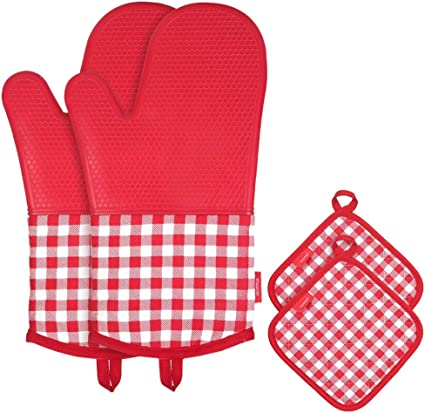 Hot silicone four gant de cuisine cuisson résistant à la chaleur isoler-pot rouge