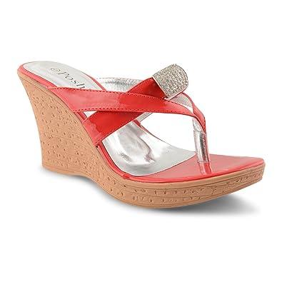 Ladies Diamante Wedge Sandals Low Heel Summer Flip Flop Toe Post UK Sizes 3-8