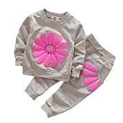 Soly Tech Kids Girls Long Sleeve Sweatsuits Sunflower Hoodie Shirts and Pants