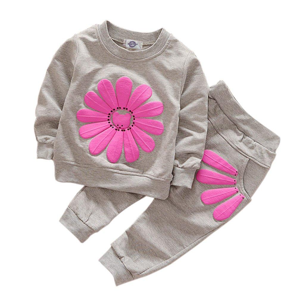Soly Tech Kids Girls Long Sleeve Sweatsuits Sunflower Hoodie Shirts and Pants