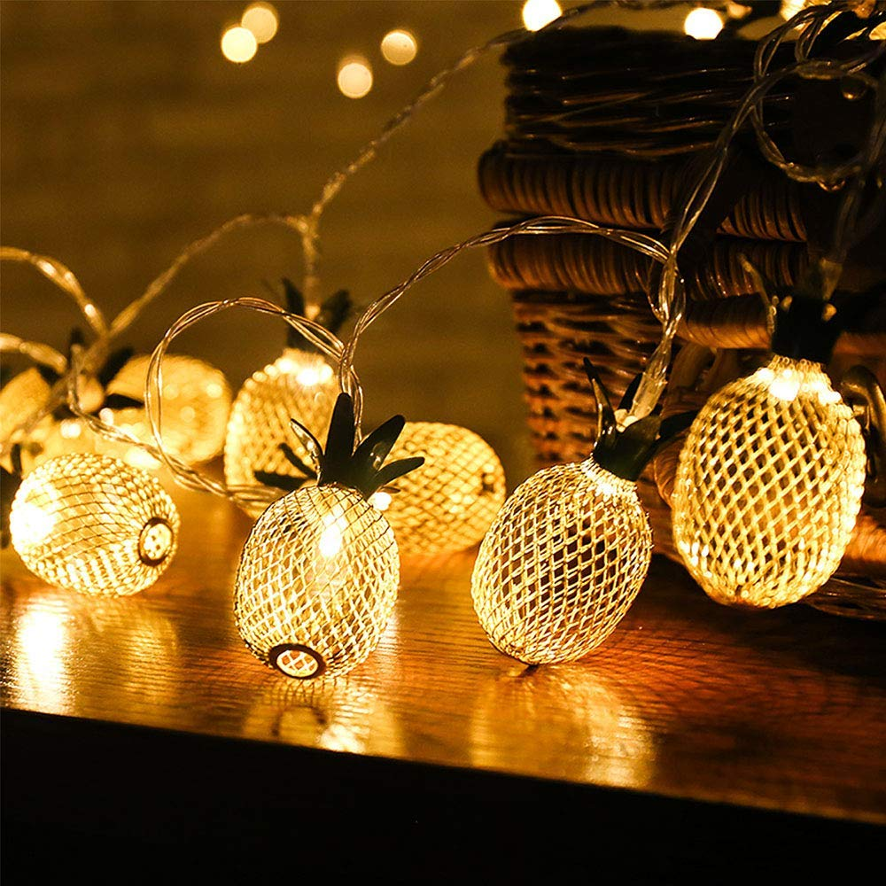 MIWORM 10LED 5.0FT Pineapple String Lights,with Battery Box String Lights for Party and Home Festival Decoration (10LED 5.0FT,Pineapple String Lights)