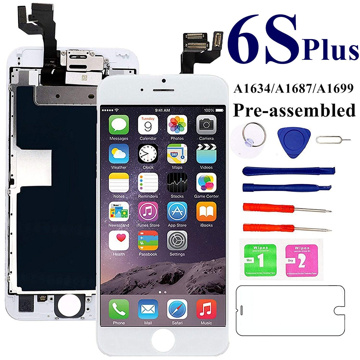 for iPhone 6S Plus Screen Replacement 5.5 inch- White, with Front Camera, Earspeaker - MAFIX Full Assembly LCD Display Digitizer 3D Touch Screen Kit with Repair Tools and Glass Protector by Mafix