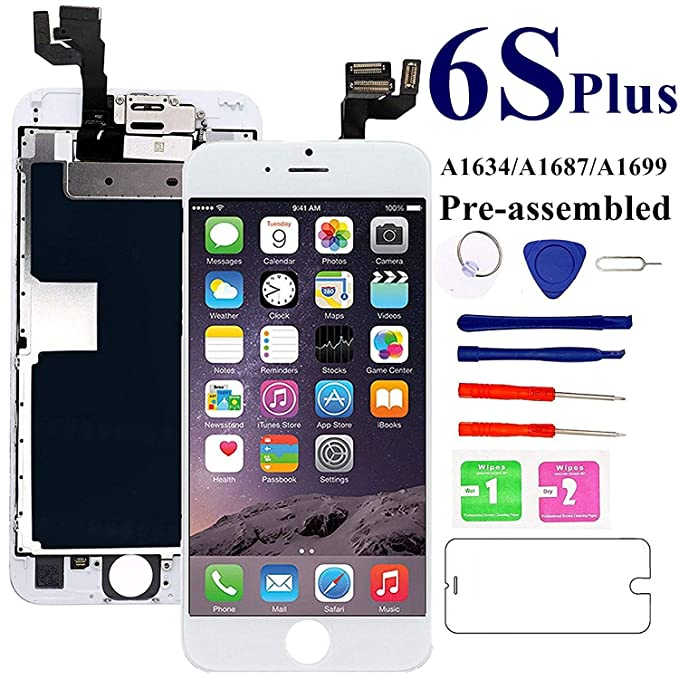 uk availability 36ebc eae9c for iPhone 6S Plus Screen Replacement 5.5 inch- White, with Front Camera,  Earspeaker - MAFIX Full Assembly LCD Display Digitizer 3D Touch Screen Kit  ...