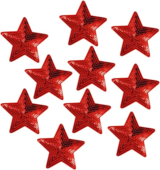 doitsa 10 x lentejuelas bordado Patch plancha o de coser Diseño Rojo Pentagrama, bricolaje decoración pegatinas para bolsas mochila camiseta Jeans: Amazon.es: Hogar