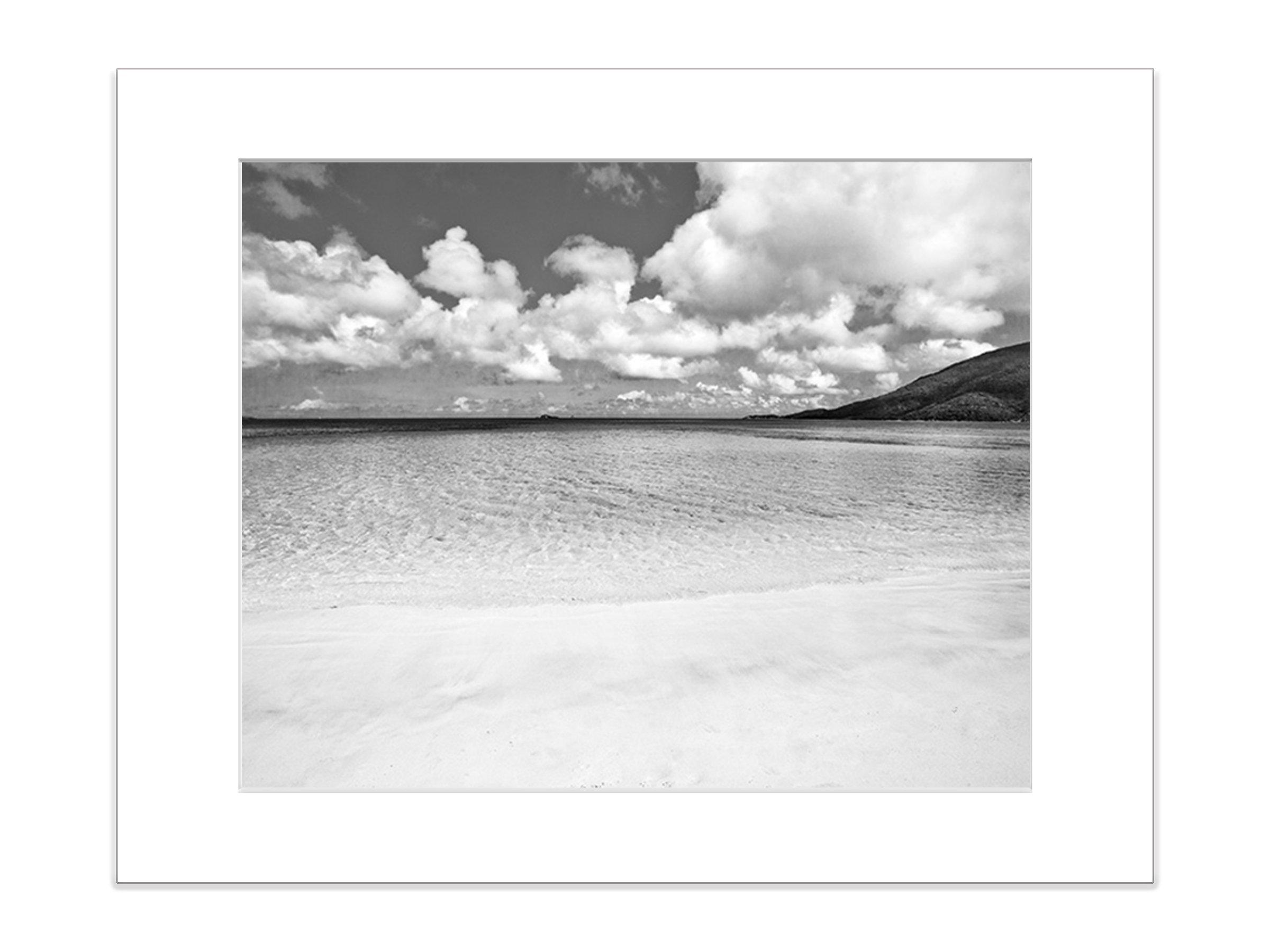 Black and White Beach Photography Coastal Island Art 5x7 Inch Matted Print