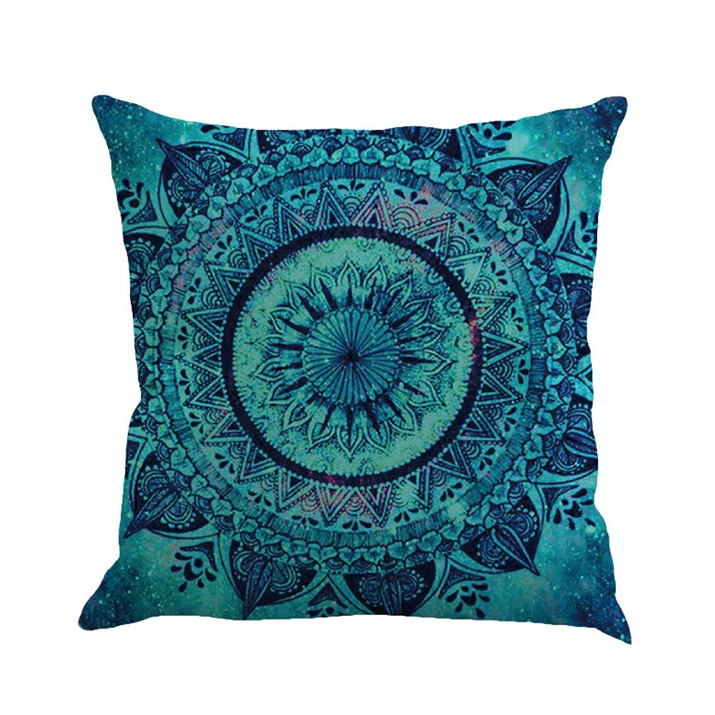 Minuya Bohemia Style Mandala Pillow Case, Coloured Printed Lotus Square Throw Pillow Cases, Decorative Cushion Covers for Sofa Bedroom Living Room,17.8 * 17.8 INCH Miyanuby