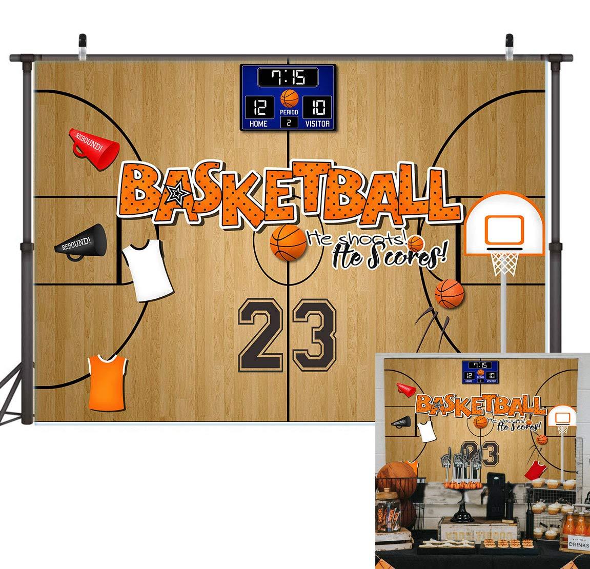 Leowefowa 7X5FT Vinyl Photography Backdrop Interior Basketball Field Stage Lights Sports Theme Background Kids Children Boys Adults Photo Studio Props