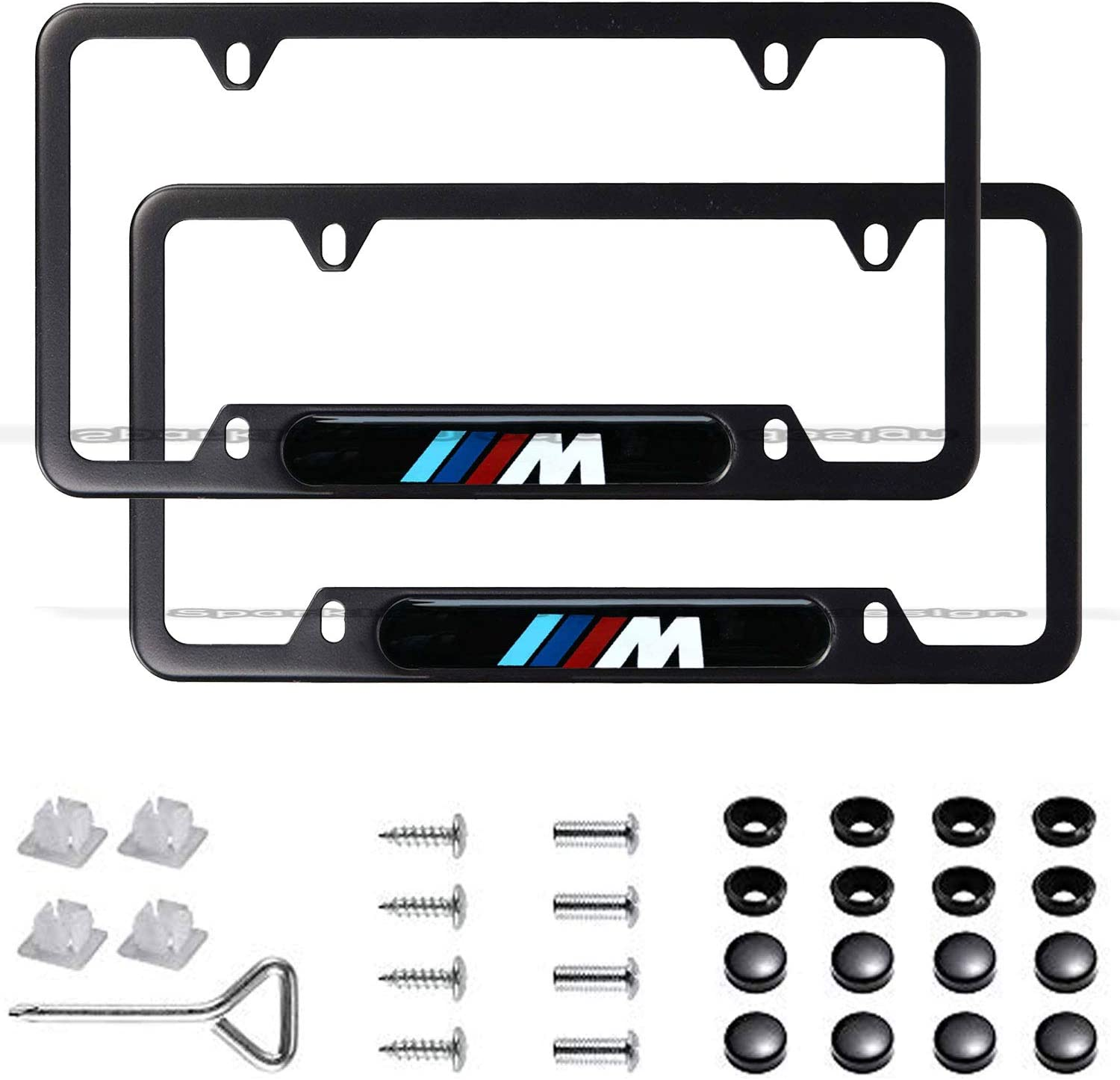 2pcs Newest Matte Aluminum Alloy M Logo License Plate Frame, with Screw Caps Cover Set Suit,Applicable to US Standard car License Frame,for BMW M.