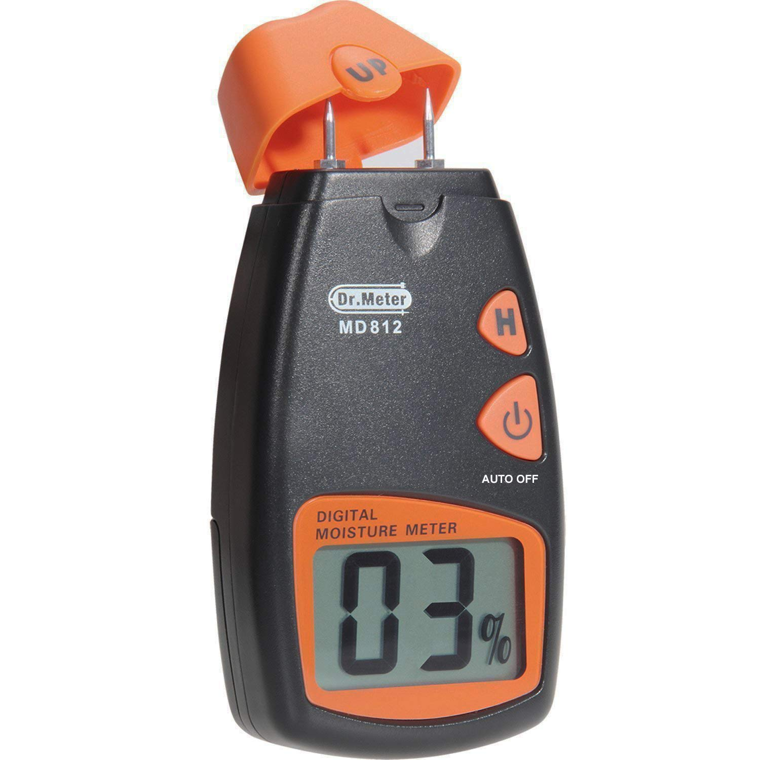 Wood Moisture Meter Dr.meter Digital Portable Wood Water Moisture Tester Digital LCD Display with 2 Spare Sensor Pins and one 9V Battery Both Included Range 5% 40% Accuracy 1% MD812