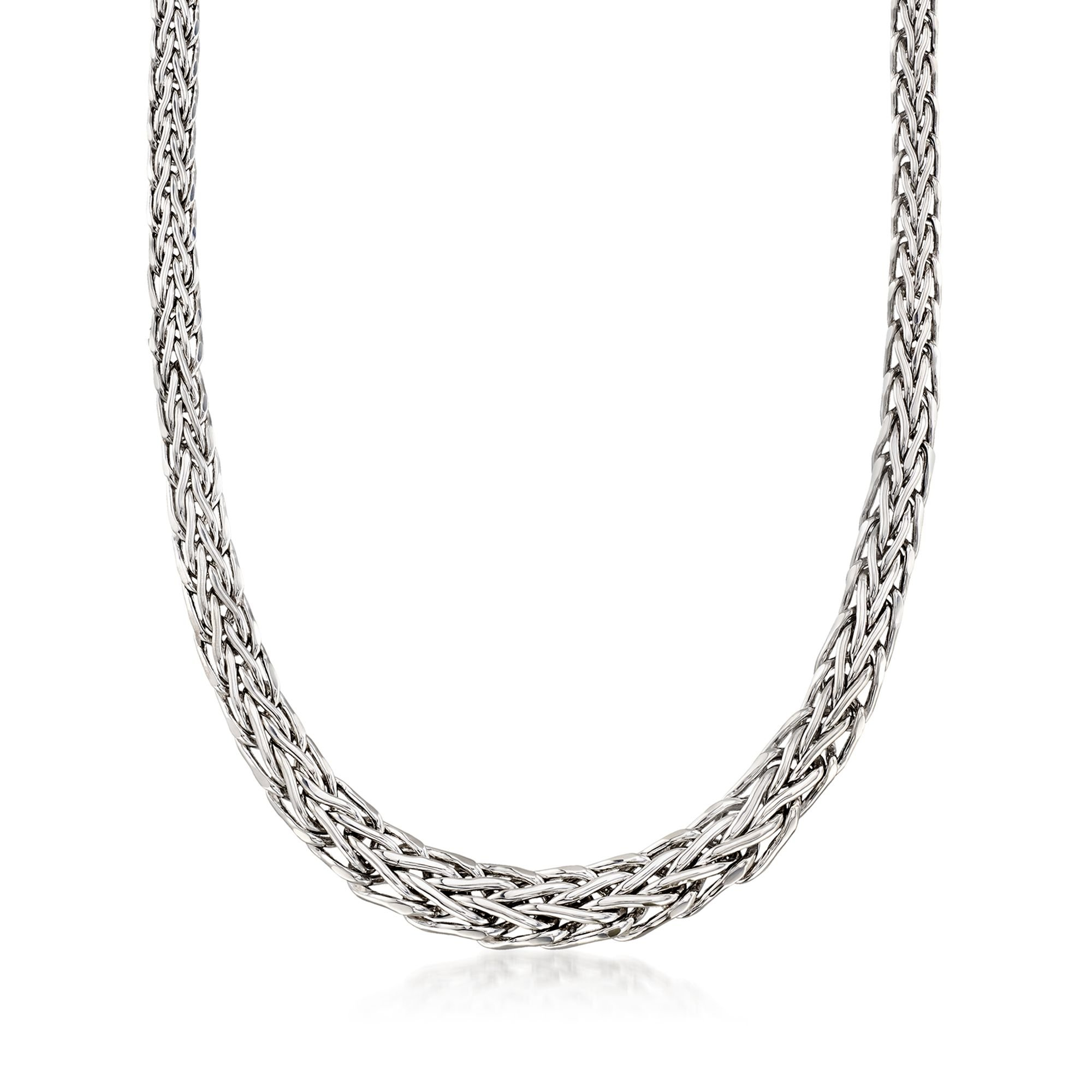Ross-Simons Sterling Silver Graduated Wheat-Link Necklace