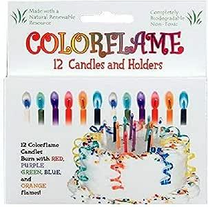 Amazon.com: colorflame velas de cumpleaños con llamas de ...