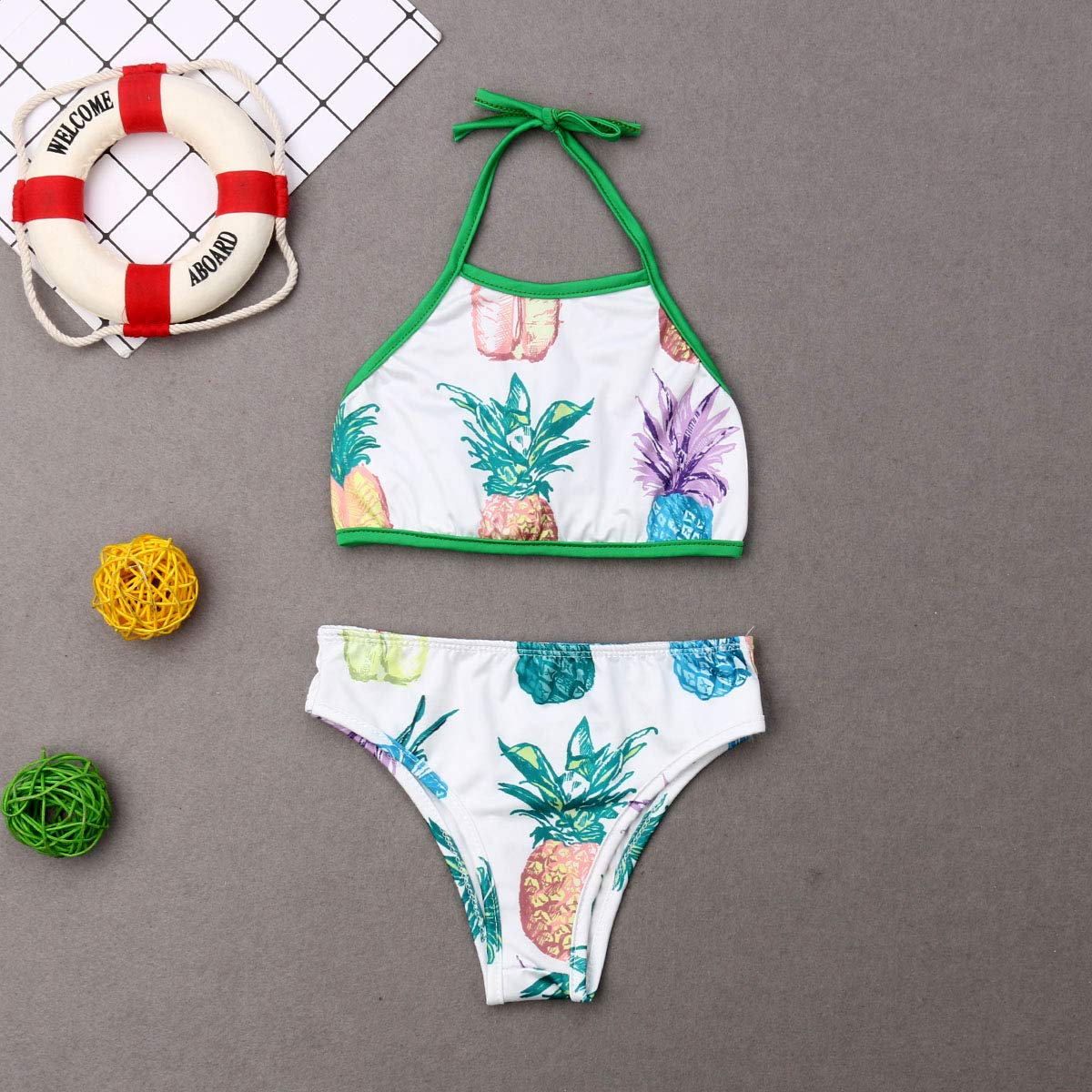AMILIEe Family Matching Swimwear Mommy Daddy and Me One Piece Swimsuit Pineapple Print 2019 Bathing Suit