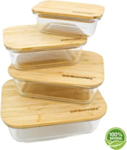 Bambooware Glass Food Storage Containers with All Natural Raw Organic Wooden Bamboo Lids   Set of 4   Reusable, Eco BPA Friendly   Perfect for Meal Prep, Lunch, Leftovers, Kitchen, Pantry