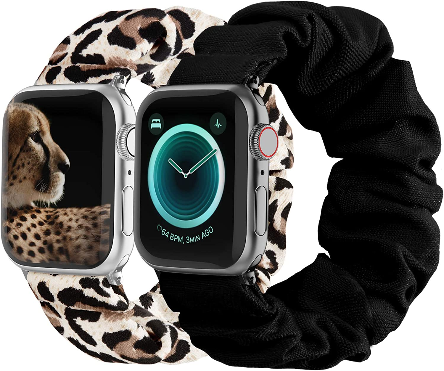 Compatible with Scrunchies Apple Watch Bands 38mm 40mm, Women Cloth Pattern Printed Fabric Wristbands Straps Elastic Scrunchy Band for iWatch Series 6 5 4 3 2 1 SE (Small Black, Leopard)